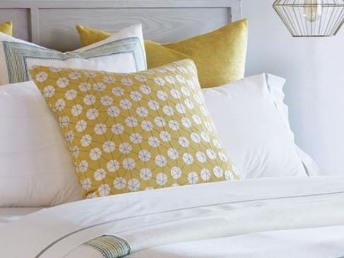 Gold White Pillows Bedding Laguna Beach Shadey Ladies