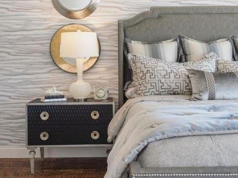 Gray Black Gold Custom Bedding Laguna Beach Shadey Ladies