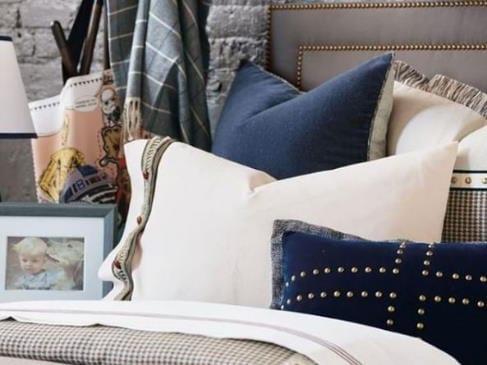 Navy Blue Pillows Bedding Laguna Beach Shadey Ladies