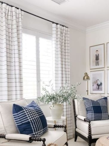 white blue stripe drapes shades blinds shadey ladies laguna beach
