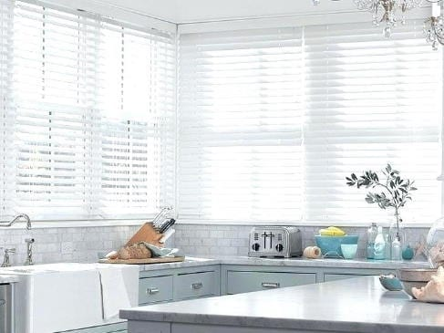 white faux wood blinds laguna beach