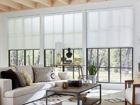 white roller solar shades laguna beach living room